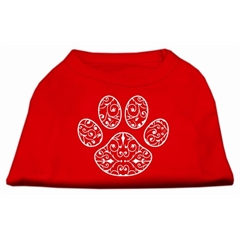 Mirage Pet Products Henna Paw Screen Print Shirt Red Med (12)