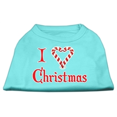 Mirage Pet Products I Heart Christmas Screen Print Shirt  Aqua XS (8)