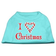 Mirage Pet Products I Heart Christmas Screen Print Shirt  Aqua XXL (18)