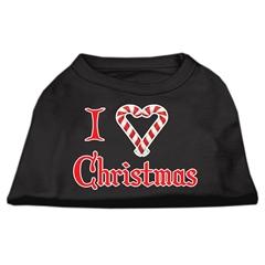 Mirage Pet Products I Heart Christmas Screen Print Shirt  Black  XS (8)