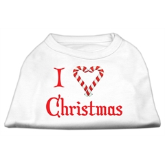 Mirage Pet Products I Heart Christmas Screen Print Shirt  White XS (8)