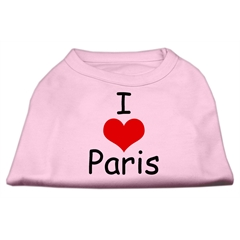 Mirage Pet Products I Love Paris Screen Print Shirts Pink Med (12)