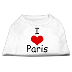 Mirage Pet Products I Love Paris Screen Print Shirts White XXL (18)