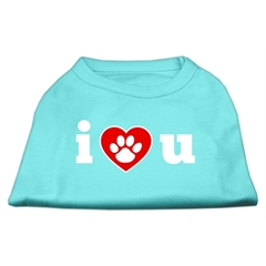 Mirage Pet Products I Love U Screen Print Shirt Aqua XXL (18)