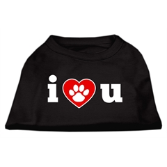Mirage Pet Products I Love U Screen Print Shirt Black  XL (16)