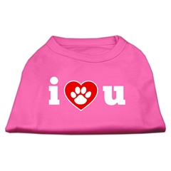 Mirage Pet Products I Love U Screen Print Shirt Bright Pink Med (12)