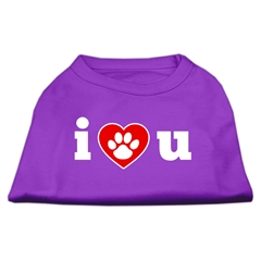 Mirage Pet Products I Love U Screen Print Shirt Purple Med (12)