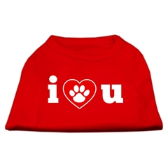Mirage Pet Products I Love U Screen Print Shirt Red  Lg (14)