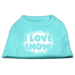 Mirage Pet Products I Love Snow Screenprint Shirts Aqua XS (8)