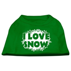 Mirage Pet Products I Love Snow Screenprint Shirts Emerald Green Lg (14)