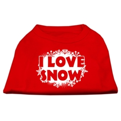 Mirage Pet Products I Love Snow Screenprint Shirts Red XS (8)