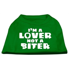 Mirage Pet Products I'm a Lover not a Biter Screen Printed Dog Shirt Emerald Green Lg (14)
