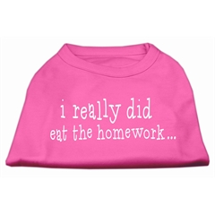 Mirage Pet Products I really did eat the Homework Screen Print Shirt Bright Pink XS (8)