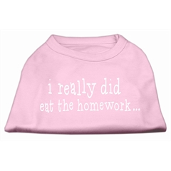 Mirage Pet Products I really did eat the Homework Screen Print Shirt Light Pink XXL (18)