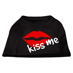Mirage Pet Products Kiss Me Screen Print Shirt Black  XXL (18)