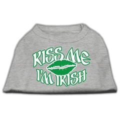 Mirage Pet Products Kiss Me I'm Irish Screen Print Shirt Grey XXL (18)