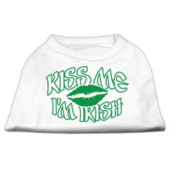 Mirage Pet Products Kiss Me I'm Irish Screen Print Shirt White  XL (16)
