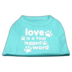 Mirage Pet Products Love is a Four Leg Word Screen Print Shirt Aqua XL (16)