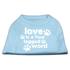 Mirage Pet Products Love is a Four Leg Word Screen Print Shirt Baby Blue XS (8)