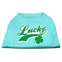 Mirage Pet Products Lucky Swoosh Screen Print Shirt Aqua XXL (18)