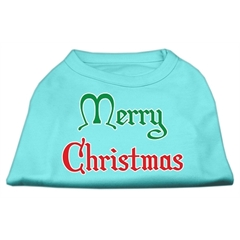 Mirage Pet Products Merry Christmas Screen Print Shirt Aqua Med (12)