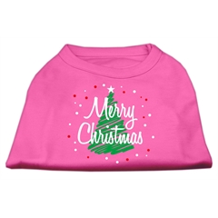 Mirage Pet Products Scribbled Merry Christmas Screenprint Shirts  Bright Pink XS (8)