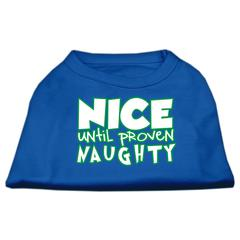 Mirage Pet Products Nice until proven Naughty Screen Print Pet Shirt Blue XS (8)
