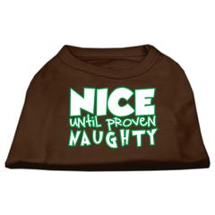 Mirage Pet Products Nice until proven Naughty Screen Print Pet Shirt Brown XS (8)