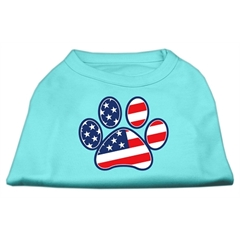 Mirage Pet Products Patriotic Paw Screen Print Shirts Aqua XS (8)