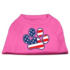 Mirage Pet Products Patriotic Paw Screen Print Shirts Bright Pink XXL (18)