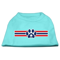 Mirage Pet Products Patriotic Star Paw Screen Print Shirts Aqua XXXL(20)