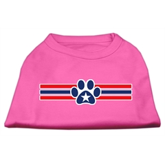 Mirage Pet Products Patriotic Star Paw Screen Print Shirts Bright Pink XL (16)
