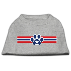 Mirage Pet Products Patriotic Star Paw Screen Print Shirts Grey XS (8)