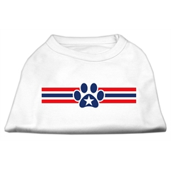 Mirage Pet Products Patriotic Star Paw Screen Print Shirts White M (12)