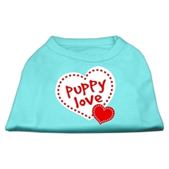 Mirage Pet Products Puppy Love Screen Print Shirt Aqua Lg (14)