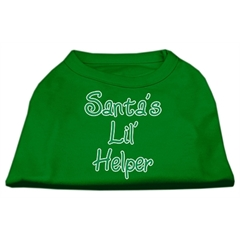 Mirage Pet Products Santa's Lil' Helper Screen Print Shirt Emerald Green Med (12)
