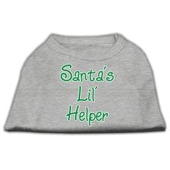 Mirage Pet Products Santa's Lil' Helper Screen Print Shirt  Grey Med (12)