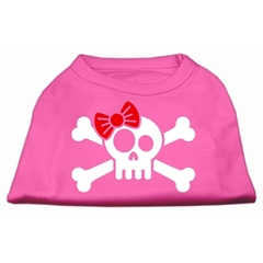 Mirage Pet Products Skull Crossbone Bow Screen Print Shirt Bright Pink XS (8)