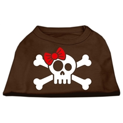 Mirage Pet Products Skull Crossbone Bow Screen Print Shirt Brown Med (12)