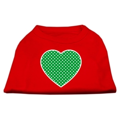 Mirage Pet Products Green Swiss Dot Heart Screen Print Shirt Red Sm (10)