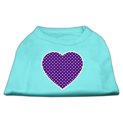 Mirage Pet Products Purple Swiss Dot Heart Screen Print Shirt Aqua Sm (10)