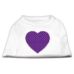 Mirage Pet Products Purple Swiss Dot Heart Screen Print Shirt White XXL (18)