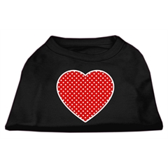 Mirage Pet Products Red Swiss Dot Heart Screen Print Shirt Black XS (8)