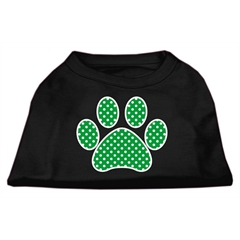 Mirage Pet Products Green Swiss Dot Paw Screen Print Shirt Black XXXL (20)