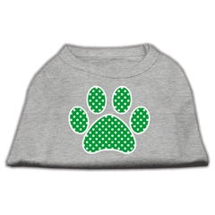 Mirage Pet Products Green Swiss Dot Paw Screen Print Shirt Grey XXXL (20)