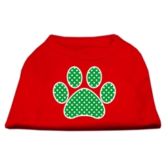 Mirage Pet Products Green Swiss Dot Paw Screen Print Shirt Red Sm (10)