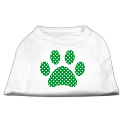 Mirage Pet Products Green Swiss Dot Paw Screen Print Shirt White XL (16)