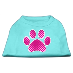 Mirage Pet Products Pink Swiss Dot Paw Screen Print Shirt Aqua XL (16)