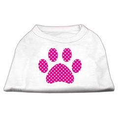 Mirage Pet Products Pink Swiss Dot Paw Screen Print Shirt White XS (8)