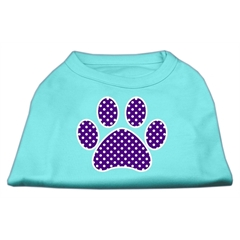 Mirage Pet Products Purple Swiss Dot Paw Screen Print Shirt Aqua Sm (10)